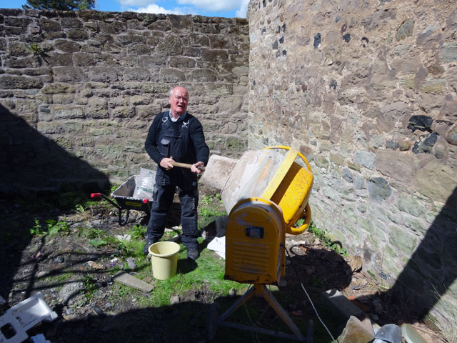 Soon we had the cement mixer in operation and the wall at the west end of  the Bothy stabilised. With that we called it a day cb56d9360fa